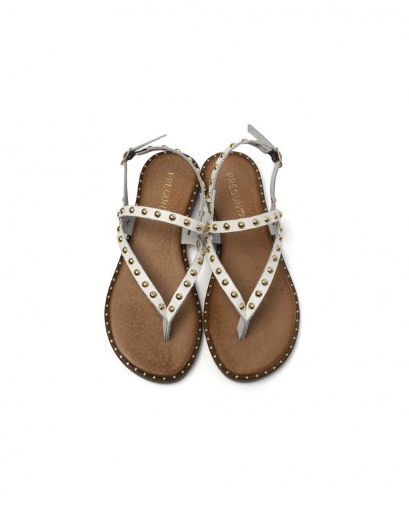 Sandalo Pelle con Rivetti Bianco