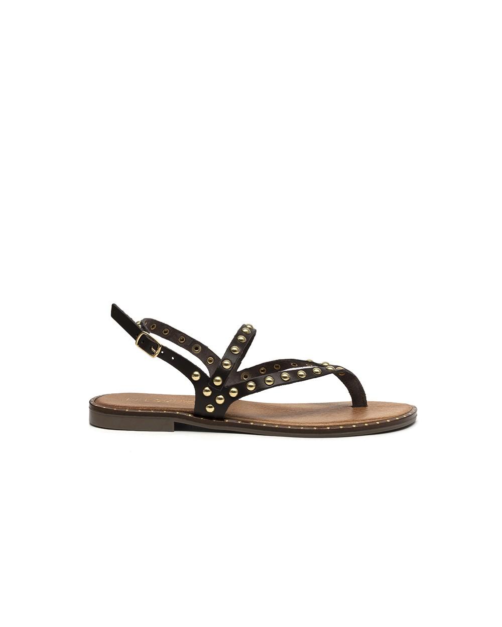 Sandalo Pelle con Rivetti Testa di Moro