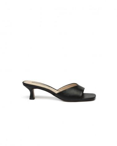 Sandalo Tacco Basso Pelle Nero