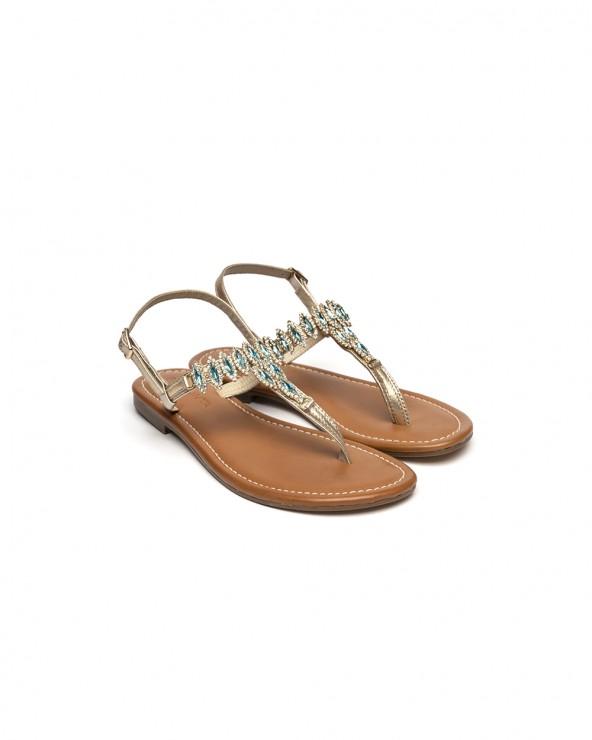 Sandalo Gioiello Rombi Smeraldo Oro