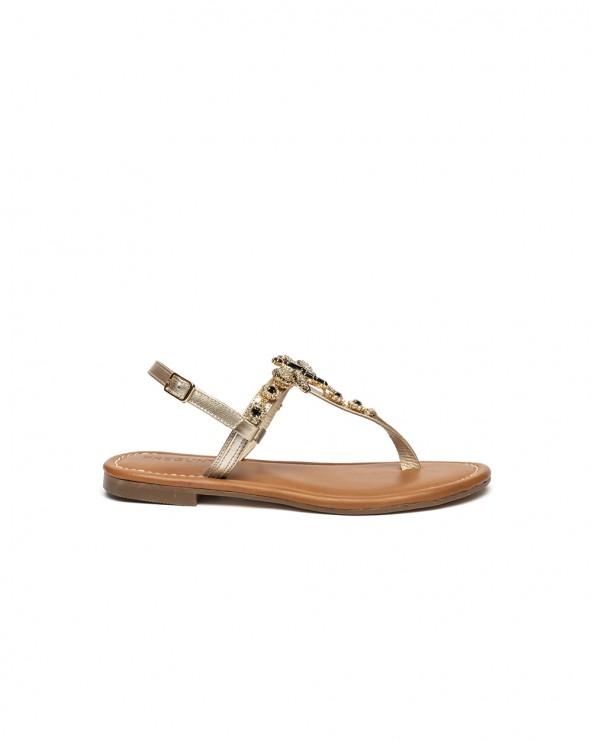 Sandalo Gioiello Libellula Nero Oro Pelle Platino