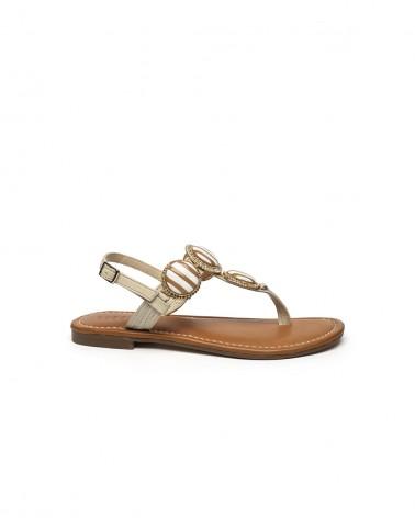 Sandalo Gioiello Ceramica Oro e Pelle Beige