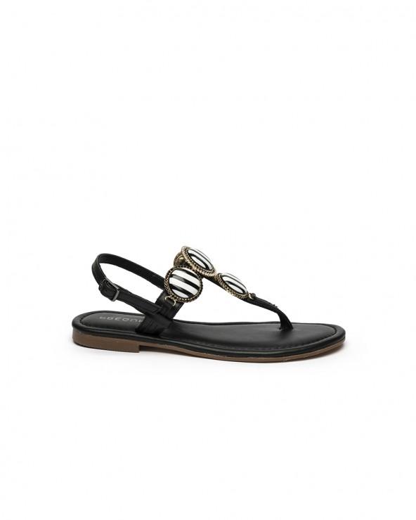Sandalo Gioiello Ceramica Oro e Pelle Nera