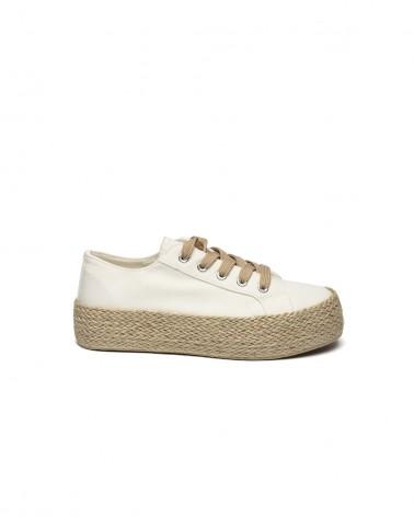 Sneakers Tela Bianca e Para in Corda Naturale